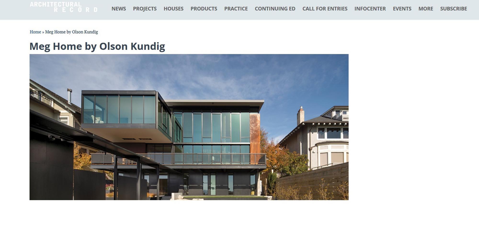 Meg Home in Architecture Record